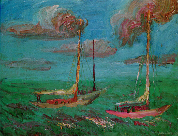 Mykola Nedilko - Sailboats. Oil, 16 x 21, 1965.