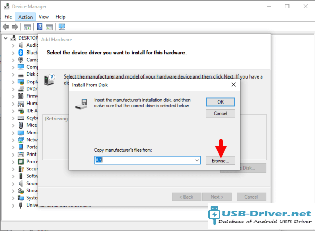 Download TCL 7041D USB Driver - add hardware browse