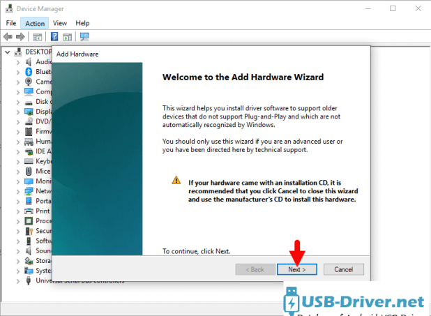 Download Hyundai L500 USB Driver - add hardware next