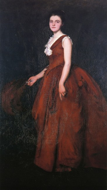 Portrait of Madame T, (1888). Edmund Charles Tarbell (1862-1938). Oil on Canvas. New Britain Museum of American Art, Loan from Private collection.