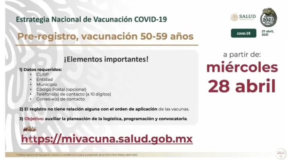 vacuna para personas de entre 50 a 59 años