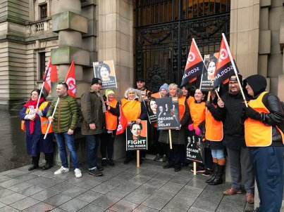 Workers striking at Mitchell Library