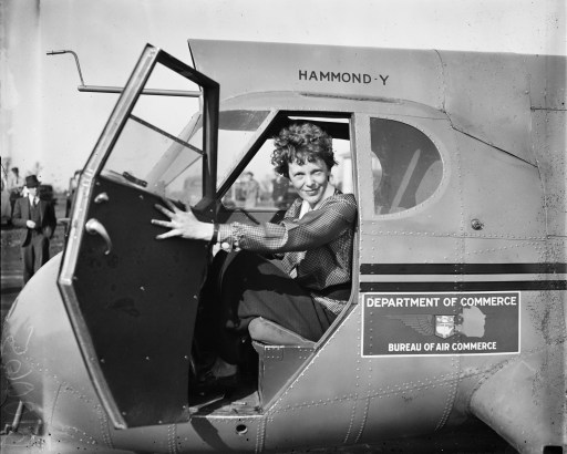 Amelia Earhart in airplane