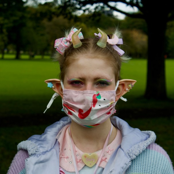 Izzi Wightman: 'I wear my homemade masks because they are eco friendly, everything I wear is pastel, so my masks are pastel too.'