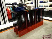 Unique table made up of men's polo sticks.