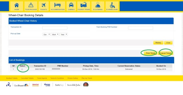 E-Wheelchair Booking cancellation page - select the ticket to be cancelled