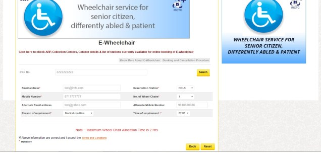 E-Wheelchair Booking required information filling page