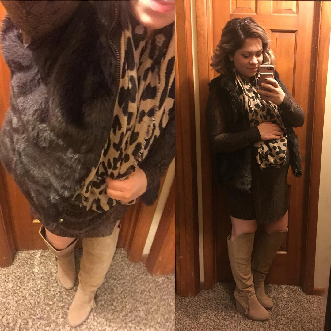 Here's another one I missed from last week for date night! Reversible dark brown faux fur vest, brown and black snakeskin dress, OTK boots from @shoedazzle and my fave new BP leopard print scarf from Nordstrom