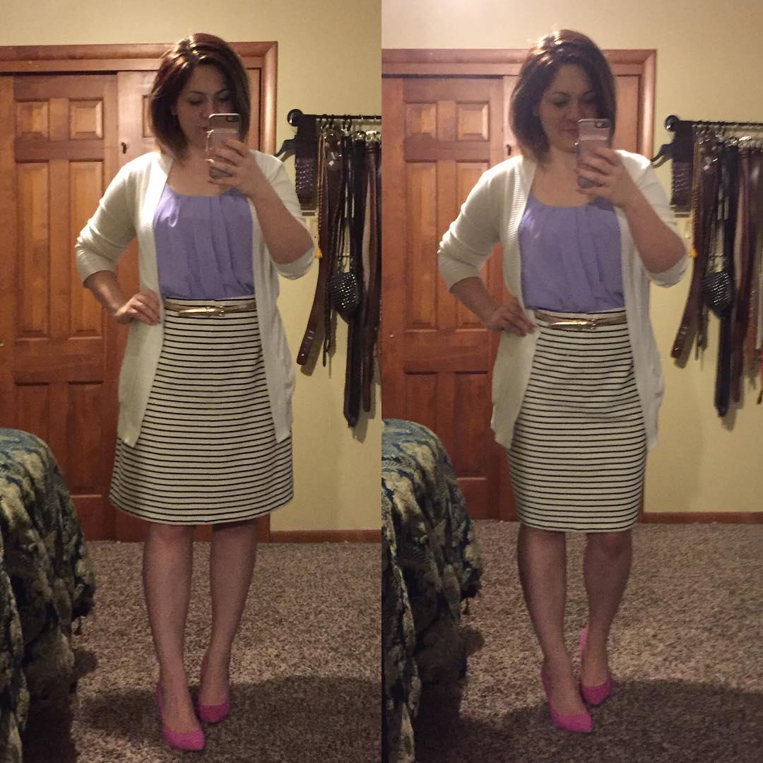 A-line or pencil? I've only worn this skirt once or twice because I don't love the shape or length on me (I have it rolled up here!!) but I loooove the stripes! Which shape do you prefer — the original or a new pencil shape?