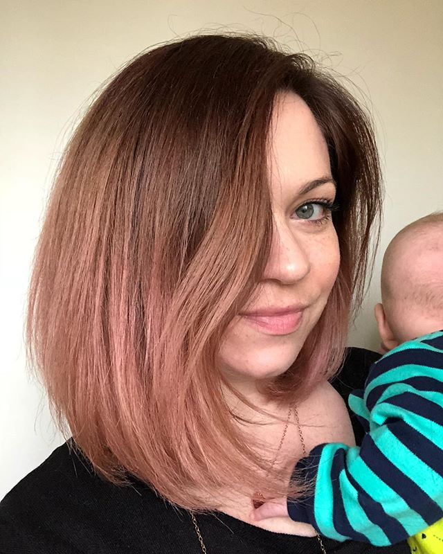 Rose gold hair plus my little Teddy bear 😘 I use Ion Rose hair color over my blond balayage for this result. Soooo ready for spring! Anyone else ready for warmer temps?
