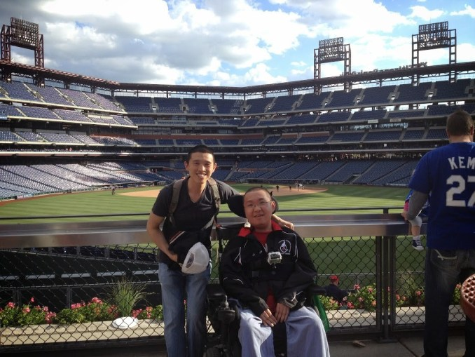 Torrance and Terrence standing in Citizens Bank Park