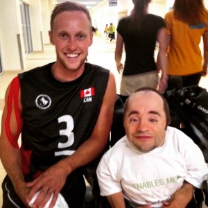 Our team member Don with Canadian sitting volleyball captain Austin Hinchey after the 3-0 win over Mexico! Story to come! #ParaTough #ParapanAmGames