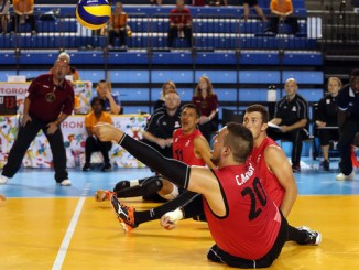 Jesse Buckingham sitting volleyball