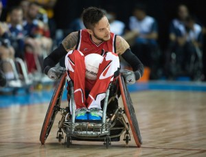MISSISSAUGA, ON, AUGUST 12, 2015. Wheelchair Rugby - Canada vs USA in preliminary action. USA won the game 60-59 in double overtime - Trevor Hirschfield Photo: Dan Galbraith/Canadian Paralympic Committee