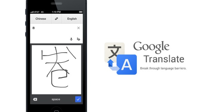 Image describing Google Translate breaking down barriers with an example of the Google Translate mobile app