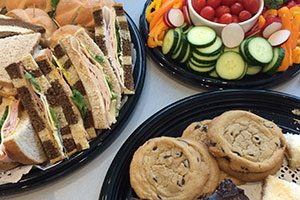 Photo of plates of Sandwiches, Cookies and Veggie Dip from Futures Cafe catering