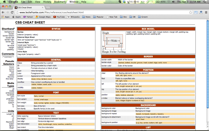 Collection of HTML5 /CSS3/Javascript Cheat Sheets for Web Designers 5