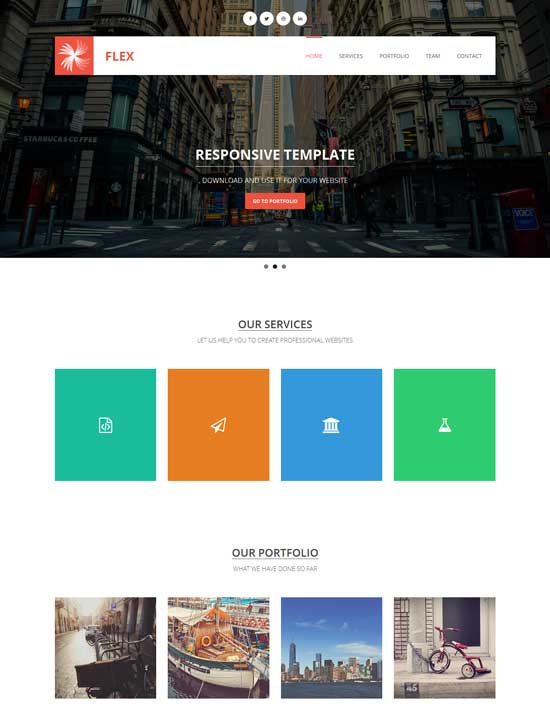 flex free responsive html5 css3 bootstrap template