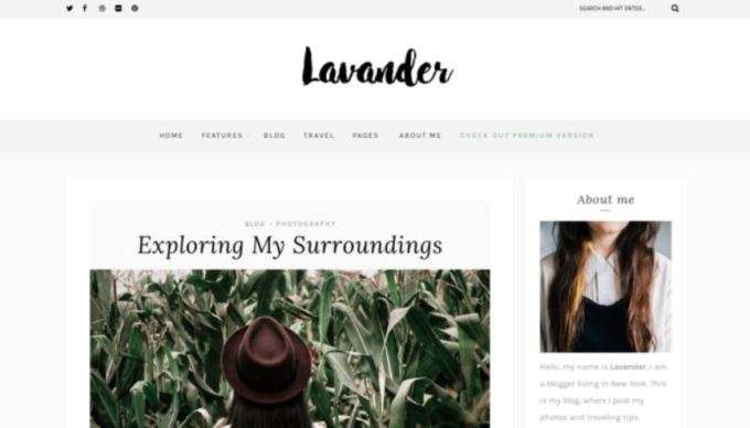 Lavander WordPress blog theme