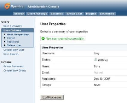 Openfire: Administration Console 'User Properties' Screen