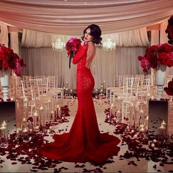 vestido de novia rojo