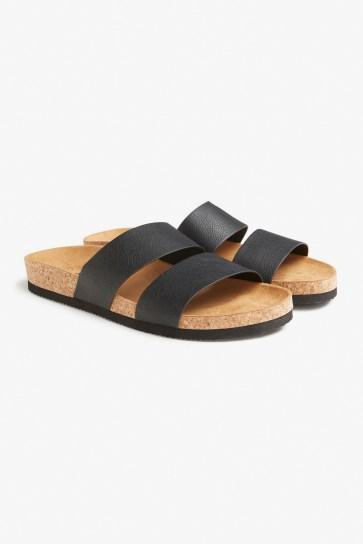 Monki black leather slides