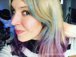 test colorist washout violet purple sur les cheveux violets