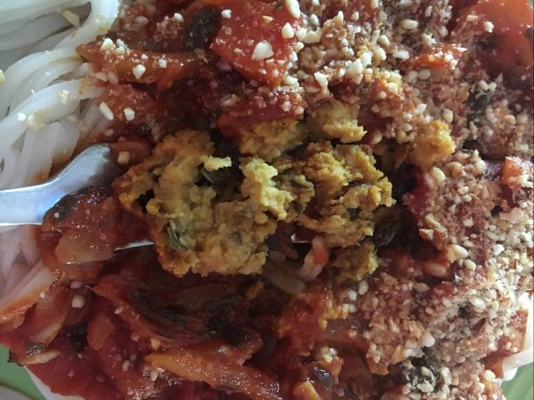 recette bolognaise vegan boulettes aux pois chiche sans soja sans protéines de soja