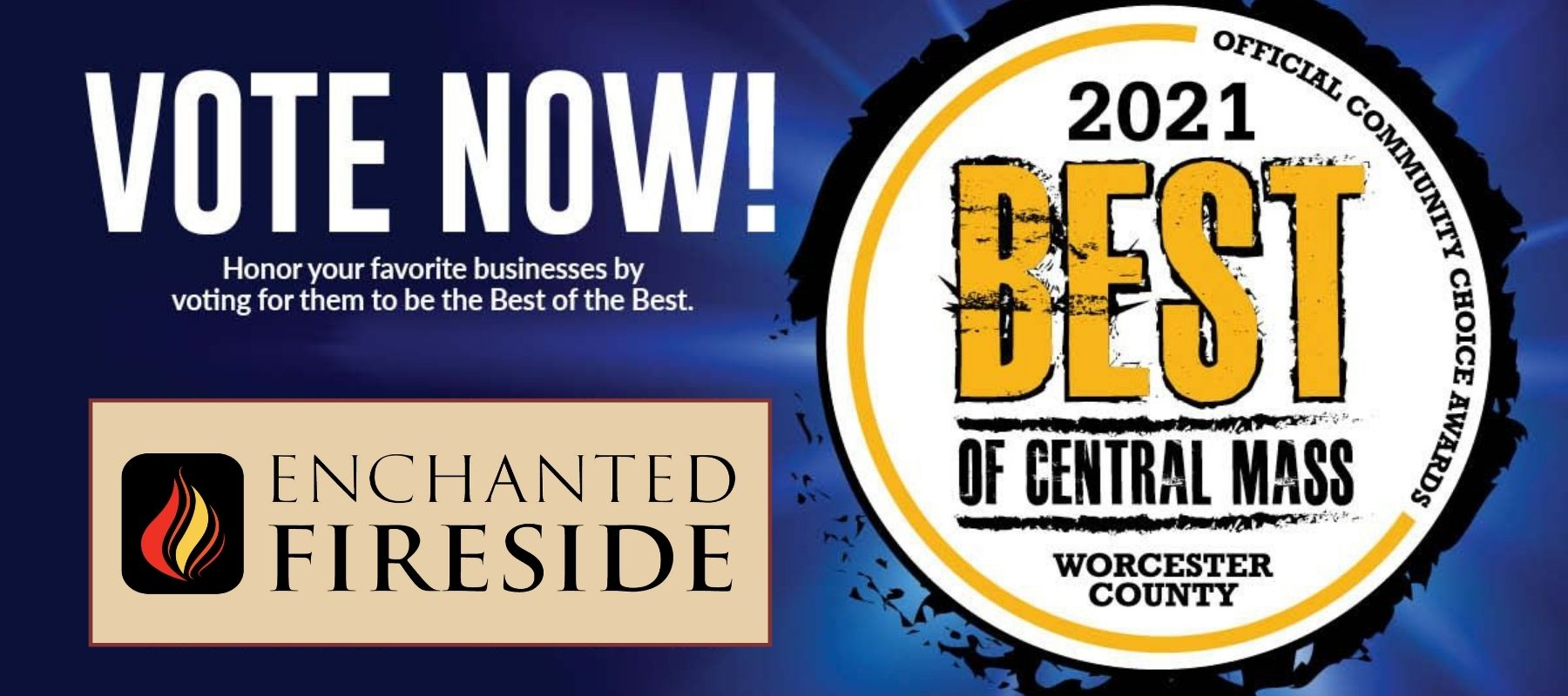vote enchanted fireside for best of Central Mass 2021
