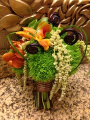 Green Dianthus, monkey tail and orchids