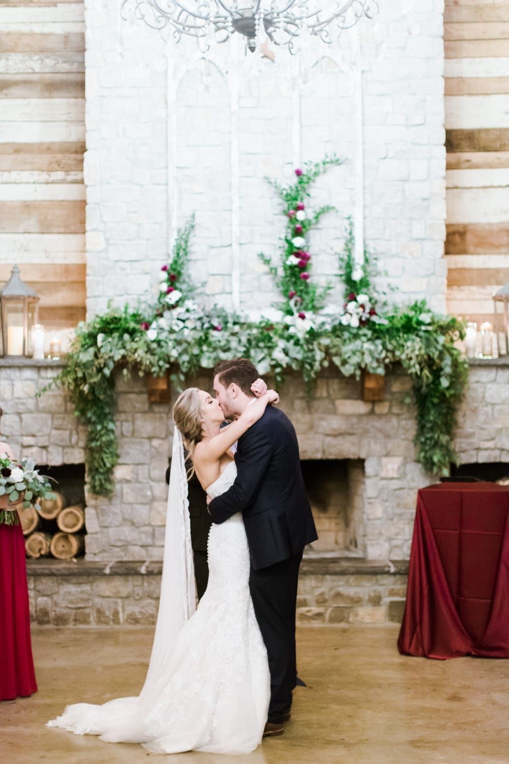 enchanted florist dramatic cranberry and real wedding at