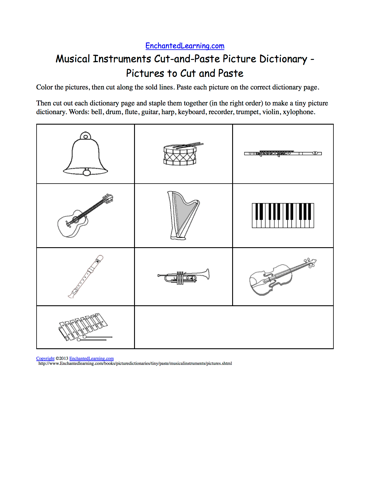 Musical Instruments Cut And Paste Picture Dictionary