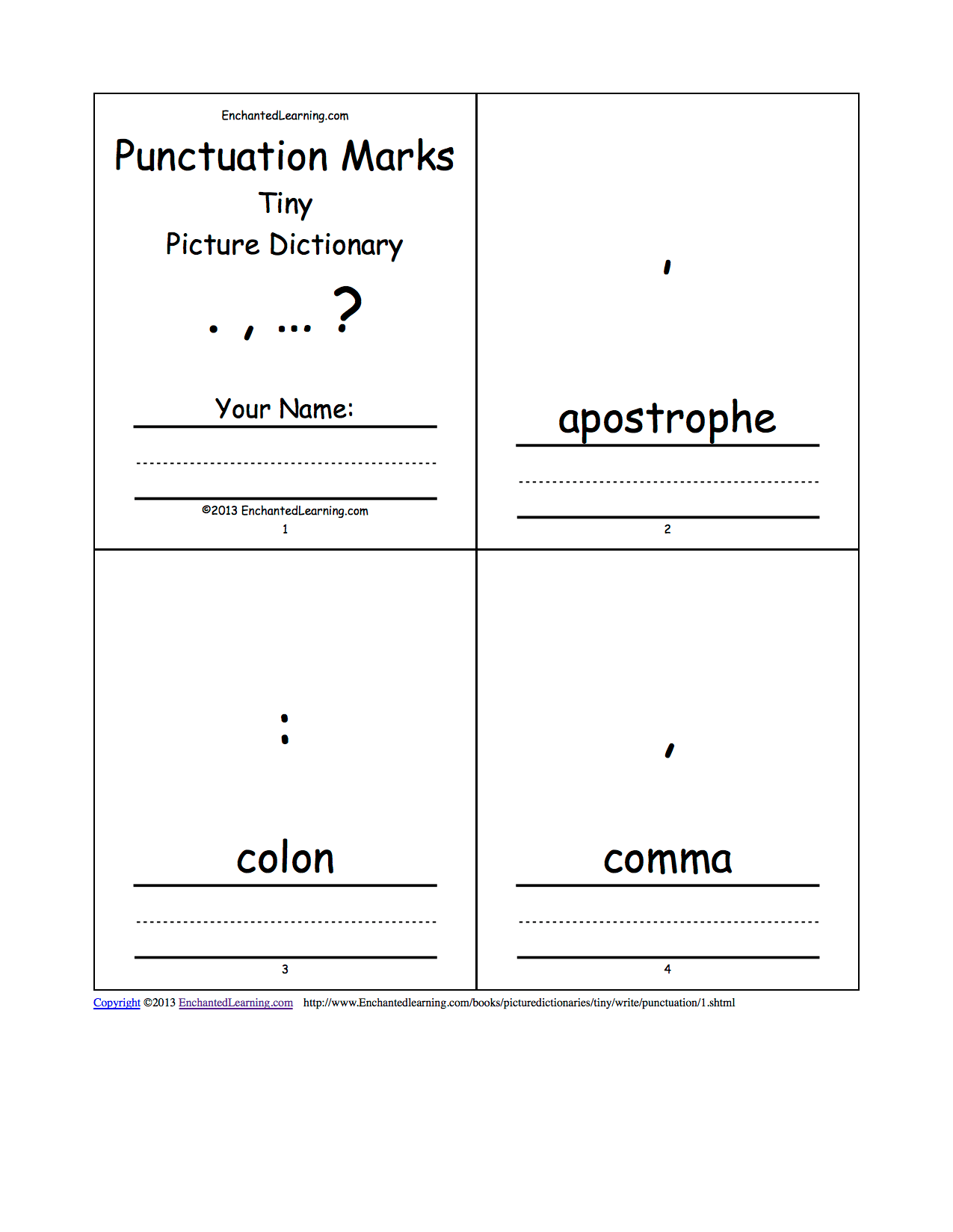 Punctuation Marks Tiny Picture Dictionary