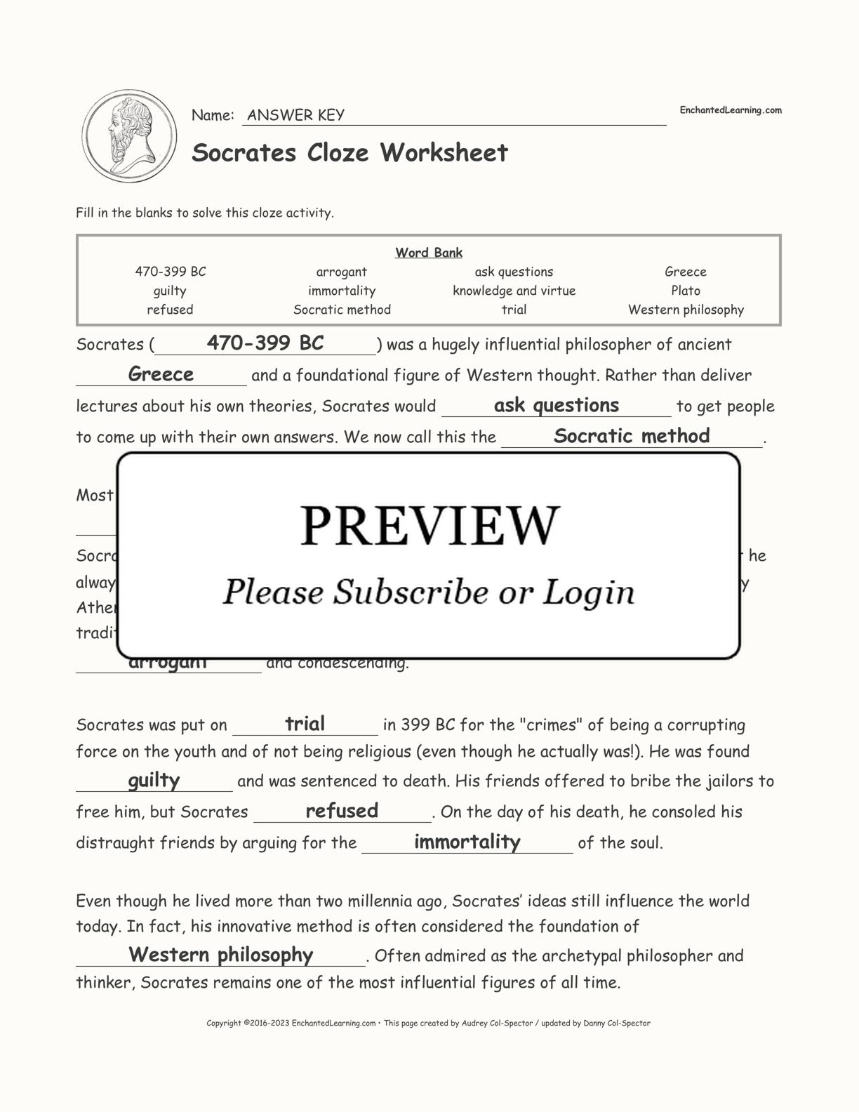 Socrates Cloze Worksheet