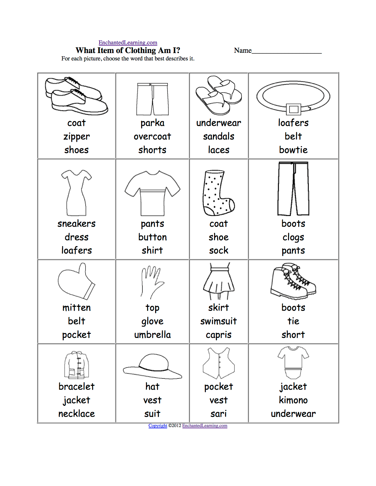 Clothes Spelling Worksheets