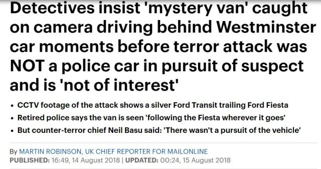 Westminster Hoax Crash Mystery van not police?