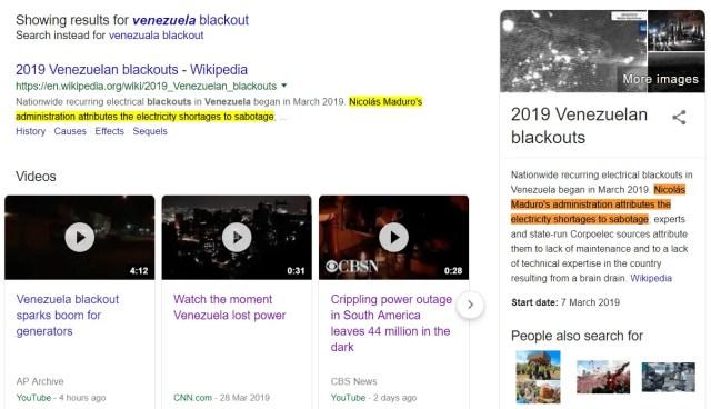 Blackout in Venezuela in March 2019