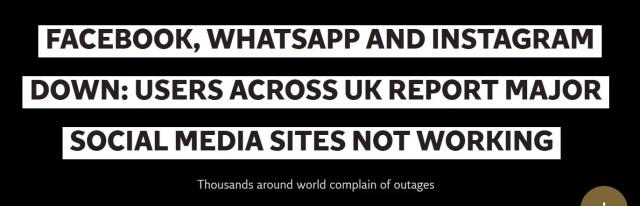 Blackout on social media platforms, Facebook down, WhatsApp down, YouTube down, Instagram down.