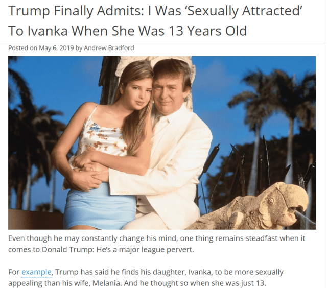Jeffrey Epstein Donald Trump Trump Finally Admits: I Was 'Sexually Attracted' To Ivanka When She Was 13 Years Old
