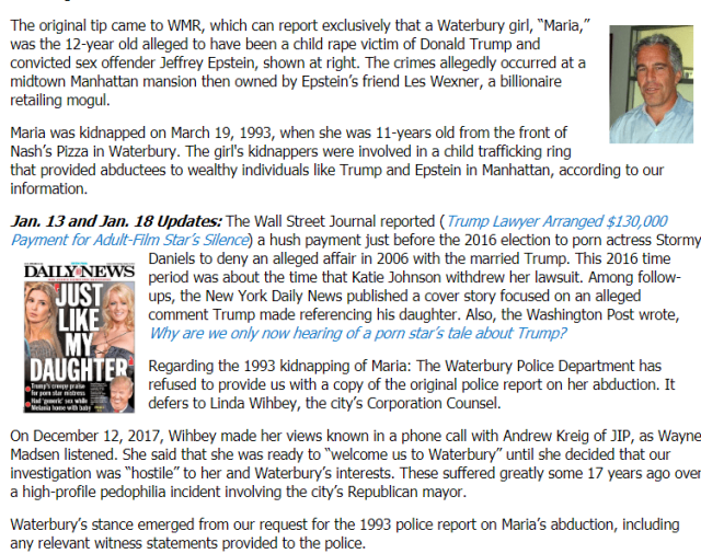 Jeffrey Epstein Donald Trump Welcome To Waterbury: The City That Holds Secrets That Could Bring Down Trump Wayne Madsen and Andrew Kreig - Enchanted LifePath Reports