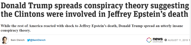 Donald Trump spreads conspiracy theory suggesting the Clintons were involved in Jeffrey Epstein's death  Bill Clinton In Dress