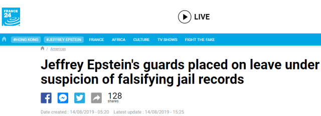 Jeffrey Epstein's guards placed on leave under suspicion of falsifying jail records