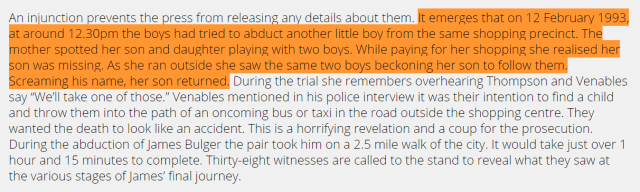 the boys had tried to abduct another little boy from the same shopping precinct