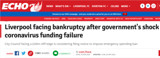 Mayor Joseph Anderson recently stated that Liverpool City Council is close to declaring bankruptcy due to a lack of government funding for the local council during the alleged COVID-19 outbreak.