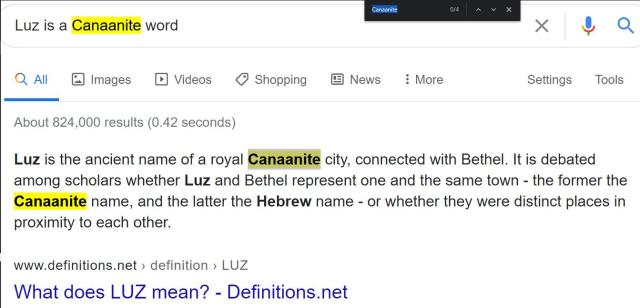 Luz is the ancient name of a royal Canaanite city, connected with Bethel. Pablos Hasel. Luz is a Canaanite word.