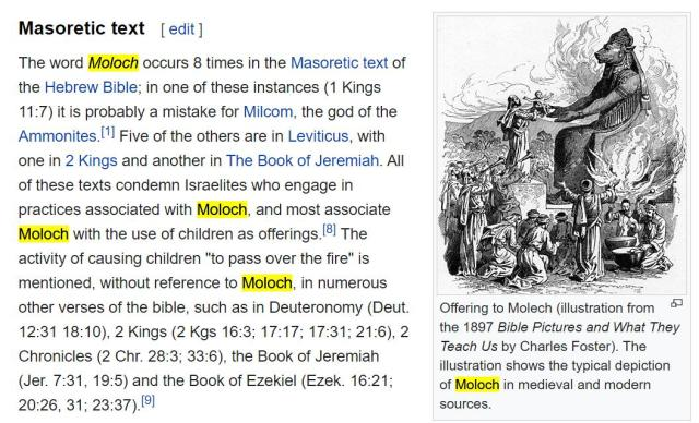 Moloch is mentioned 8 times in the bible
