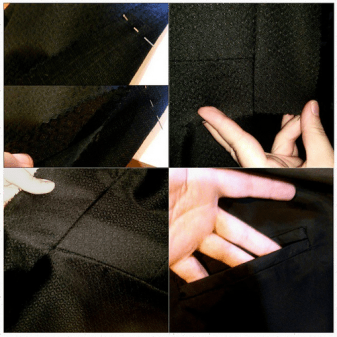 """Working on the Phantom's tailcoat. I don't think any future project will be as difficult as a Victorian tailcoat… I think (keyword think) I've reached the pinnacle, LOL! Upper left: suiting and interlining. Used to further stabilize and give the coat a nice, heavier feel. (A heavy black linen is being used) Upper right: seams near the front placket. Lower left: seams near the back, but I was trying to convey how nice the weight of these pieces are… Apparently hard to capture in a photo… Lower right: interior welt pocket. Lining being used is a luxurious, heavy, silky Bemberg lining. I fell in love with this stuff when I used it to line my Red Riding Hood cloak."""