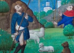 L'Annonce aux bergers. Livre d'heures manuscrit sur peau de vélin, milieu du XVe siècle (détail).