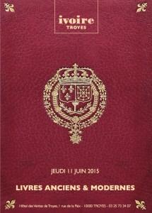 Couverture du catalogue de la vente du 11 juin 2015