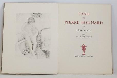 591. WERTH. Éloge de Pierre Bonnard. Paris, Manuel Bruker, 1946